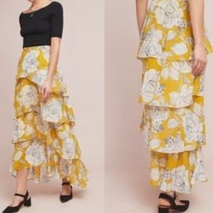 ANTHROPOLOGIE Mosier Tiered Full Length Skirt Sz 0
